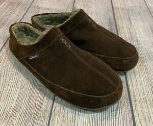 NICE Clarks Brown Leather Suede Upper Fuzzy Insulated Moccasin Slippers Mens 13