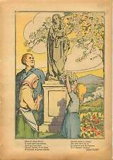 Statue de la Vierge Marie Enfant Jesus Cerisier en Fleurs 1937 ILLUSTRATION