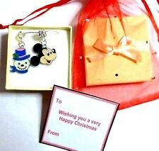 Mickey Mouse & Snowman Blue Hat Necklace in Gift Box & Bag Christmas Gift