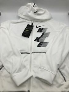 Nike Boys Size XL Therma Dri Fit Full Zipper White CU9090 100 New with tag