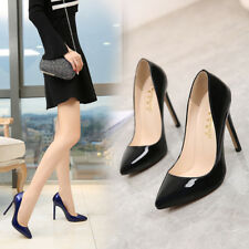 Ladies High Heels Pumps Patent Leather Shoes Pointed Toe Stiletto Shoes