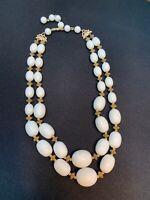 "Vintage 1950S  Imitation Milk Glass 2 Strand Beaded Necklace Hook Clasp 14 - 17"""