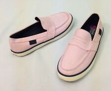 POLO RALPH LAUREN Pink Canvas Navy Blue Slip-On Tennis Boat Deck Shoe 8.5 NEW