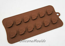 12 cell Small Skull Silicone Chocolate Candy Mould Halloween Pagan Resin Wax
