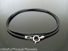 """1.5mm Black Leather & Sterling Silver Necklace Or Wristband 16"""" 18"""" 20"""" 24"""" etc"""