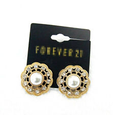 New Forever21 Faux Pearl Button Stud Earrings Gift Fashion Women Party Jewelry