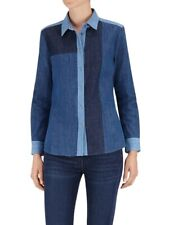 £225 7 For all Mankind Ladies S Denim Shirt/Top Patchwork Blue Size UK 8/10 NEW!