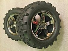 "Traxxas Revo 3.3 New Two Hurricane Chrome Wheels with 6.3"" Maxx Tires 4973R"
