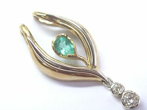 NATURAL Gem Green Colombian Emerald & Diamond 2-Tone Drop Pendant 14KT 2.05Ct