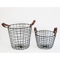Black Metal Wire Basket Waste Paper Bin Kitchen Bedroom Bathroom Storage Hom