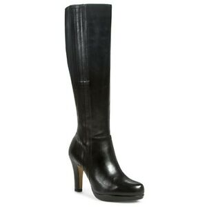 Clarks Ladies Womens Black Leather Zip Up Long High Heeled D Fit Boots UK 3