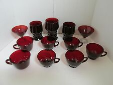 VINTAGE RUBY RED DEPRESSION GLASSWARE CUPS GLASSES HOBNOB LOT OF 12