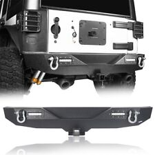 "Off-road Rear Bumper w/ D-Rings + 2"" Hitch Receiver Fit 07-18 Jeep Wrangler JK"