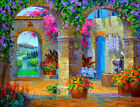 Wall art Beautiful courtyard oil painting Giclee Art HD Printed on canvas L3215