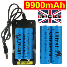 4X 18650 Battery 9900mAh 3.7V Li-ion Rechargeable Batteries with USB Charger UK