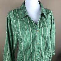 St. John's Bay Women's 3/4 Sleeve Top Blouse Plus Size 1X Olive Green Tan Stripe