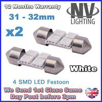 2x 30mm 31mm NUMBER PLATE INTERIOR LIGHT FESTOON BULB 4 LED XENON WHITE 269 c5w