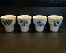Naaman Israel Set of 4 Small White Porcelain Cups, Gold Rim and Fruit Design