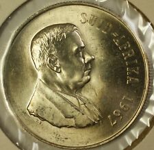 1967 South Africa Suid- Afrika 1 Rand Brilliant Uncirculated Silver Coin