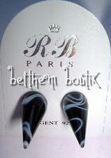Goth : Piercing Boucles d' Oreille grand Cone NOIR & Blanc Gothique