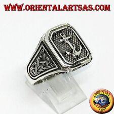 Anello in argento 925 ‰ sigillo àncora con nodo di celtico