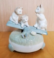 """Vintage Porcelain Music Box Cat Kittens On Seesaw """"Memory"""" From Musical CATS"""