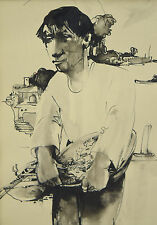 1962 Willem Van Den Berg Painting Dutch Fisherman with Bowl of Fish