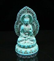 Collectible china Decorated Turquoise Kwan-yin Lotus base Religion Buddha Statue