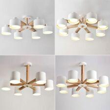 LED Chandelier  Iron Lampshade Wood Lamp Body Living Room Modern Wooden Lighting