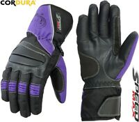 LADIES PURPLE THERMAL MOTORBIKE MOTORCYCLE MOTOCROSS WINTER TEXTILE WOMEN GLOVES