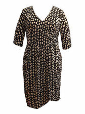 V-Neck 3/4 Sleeve Plus Size Spotted Dresses for Women