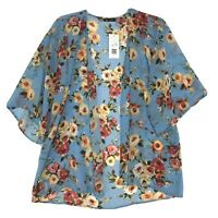Vision USA NWT Kimono Open Front Cardigan Wrap Sz L Blue Floral 3/4 Sleeve NEW