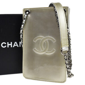 CHANEL CC Mini Chain Shoulder Bag Patent Leather Silver Made In Italy 96BU216
