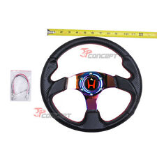 320mm JDM Steering Wheel Black Carbon Fiber NEO Chrome Spokes w/Red H Emblem