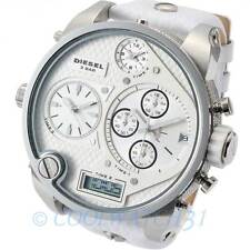New DIESEL DZ7194 Mens Watch Time Zone White Chronograph Leather DZ7194