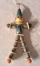 ANTIQUE VINTAGE CELLULOID & WOOD BEAD ELASTIC ARMS LEGS DANGLING BABY RATTLE