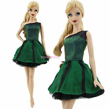 Summer Fashion Green Short Dress Mini Gown Princess Clothes For Barbie Doll Toy