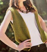 "Ladies Waistcoat Crochet Pattern Chest 32 - 38"" Corded Edging  BR540"