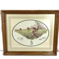 Nigel Hemming Signed in pencil Fox & Hounds Framed Print 1985 Hunting Horses
