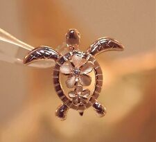 20mm Hawaiian 14k Rose Gold Over Silver Petroglyph Turtle Plumeria CZ Pendant