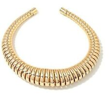 "Roberto by RFM ""Extravagance"" Ribbed Graduated 13 "" Collar Goldtone Necklace"