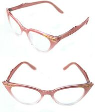 Womens small Cat Eye Vintage Clear Lens Eye Glasses Pink Clear Rhinestones 50's
