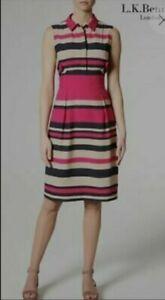 L.K Bennett DR Martha Womens Smart Work Party Striped Dress Size 18~New RRP £225