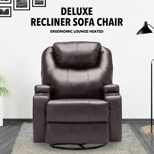 Brown Ergonomic Swivel Heated Recliner Massage Sofa Chair Lounge with Control