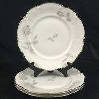 "Set of 3 VTG Salad Plates 7 7/8"" Hutschenreuther Selb GRAY ROSE Bavaria Germany"
