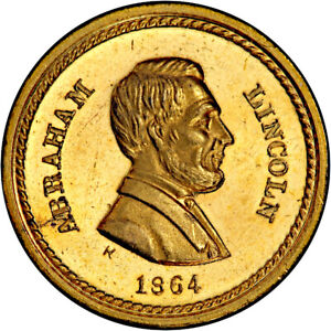 1864 Abraham Lincoln Patriotic Civil War Token R8 GILT PCGS MS64 Near Proof Like