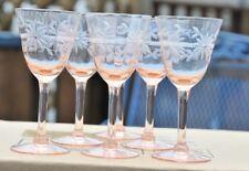 Vtg 6 Fragile Pink Depression Glasses Etched  3 Oz Stem Glassware