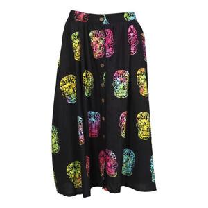 Sugar Skull Button Through Skirt