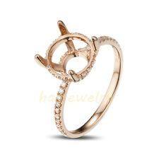 8.0mm Round Cut Solid 14K Rose Gold Natural Diamond Semi Mount Ring Setting