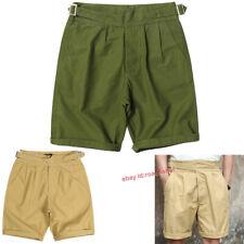 Retro Gurkha Pants Men's Army Cotton Shorts Straight Military Short Pants Loose